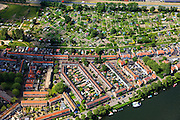 Nederland, Noord-Holland, Zaandam, 14-06-2012; volkstuinen en woonwijk tussen de Provinciale weg en de Oude Haven in de Zaan..Allotments and residential area in the city of Zaandam at the river Zaan..luchtfoto (toeslag), aerial photo (additional fee required).foto/photo Siebe Swart