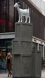 © under license to London News Pictures. 20/01/20011. The winning design of the inaugural Spitalfields sculpture prize was unveiled in London's Spitalfields today. Kenny Hunter's hand sculpted goat stands atop a stack of packing crates to create the 3.5metre high goat, which was inspired by Spitalfields rich, ongoing social history. Photo credit should read Fuat Akyuz/LNP