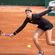 PARIS, FRANCE June 5.  Karolina Muchova of the Czech Republic in action against Sloane Stephens of the United States on CourtSimonne Mathieu during the third round of the singles competition at the 2021 French Open Tennis Tournament at Roland Garros on June 5th 2021 in Paris, France. (Photo by Tim Clayton/Corbis via Getty Images)