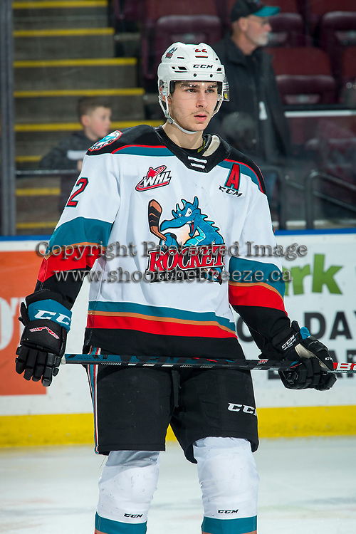 KELOWNA, BC - FEBRUARY 12: Dillon Hamaliuk #22 of the Kelowna Rockets warms up on the ice against the Tri-City Americans at Prospera Place on February 8, 2020 in Kelowna, Canada. Hamaliuk was selected in the 2018 NHL entry draft by the San Jose Sharks. (Photo by Marissa Baecker/Shoot the Breeze)