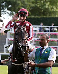 Baghdad ridden by Andrea Atzeni celebrate winning the King George V Stakes during day three of Royal Ascot at Ascot Racecourse.