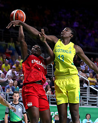 England's Melita Emanuel-Carr has a shot blocked by Australia's Ezi Magbegor in the Women's Gold Medal Game at the Gold Coast Convention and Exhibition Centre during day ten of the 2018 Commonwealth Games in the Gold Coast, Australia.