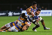 Auckland player Harry Plummer gets caught up in the tackle against Bay of Plenty during the Mitre 10 Cup match played at Rotorua International Stadium in Rotorua on Friday 2nd October 2020.<br /> Copyright photo: Alan Gibson / www.photosport.nz