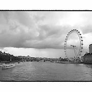 Storm Clouds Over The Thames - London UK - Artist Designed Custom Border - Black & White