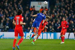 Diego Costa of Chelsea and David Luiz of Paris Saint-Germain compete in the air - Photo mandatory by-line: Rogan Thomson/JMP - 07966 386802 - 11/03/2015 - SPORT - FOOTBALL - London, England - Stamford Bridge - Chelsea v Paris Saint-Germain - UEFA Champions League Round of 16 Second Leg.