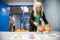BENTONVILLE, AR - JULY 7:  Karen Posada of The Good Promise, makes her presentation to Paul Renn (Produce Director) of Walmart at the Walmart Head Quarters in Bentonville, Arkansas.<br /> Wesley Hitt for the Wall Street Journal