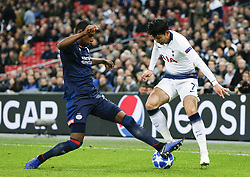 BRITAIN-LONDON-FOOTBALL-CHAPIONS LEAGUE-HOTSPUR VS EINDHOVEN.(181106) -- LONDON, Nov. 6, 2018  Tottenham Hotspur's Heung-Min Son (R) competes during the UEFA Champions League match between Tottenham Hotspur and PSV Eindhoven in London, Britain on Nov. 6, 2018. Tottenham Hotspur won 2-1.  FOR EDITORIAL USE ONLY. NOT FOR SALE FOR MARKETING OR ADVERTISING CAMPAIGNS. NO USE WITH UNAUTHORIZED AUDIO, VIDEO, DATA, FIXTURE LISTS, CLUBLEAGUE LOGOS OR ''LIVE'' SERVICES. ONLINE IN-MATCH USE LIMITED TO 45 IMAGES, NO VIDEO EMULATION. NO USE IN BETTING, GAMES OR SINGLE CLUBLEAGUEPLAYER PUBLICATIONS. (Credit Image: © Xinhua via ZUMA Wire)