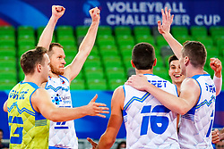 Players of Slovenia celebrate during volleyball match between Cuba and Slovenia in Final of FIVB Volleyball Challenger Cup Men, on July 7, 2019 in Arena Stozice, Ljubljana, Slovenia. Photo by Matic Klansek Velej / Sportida