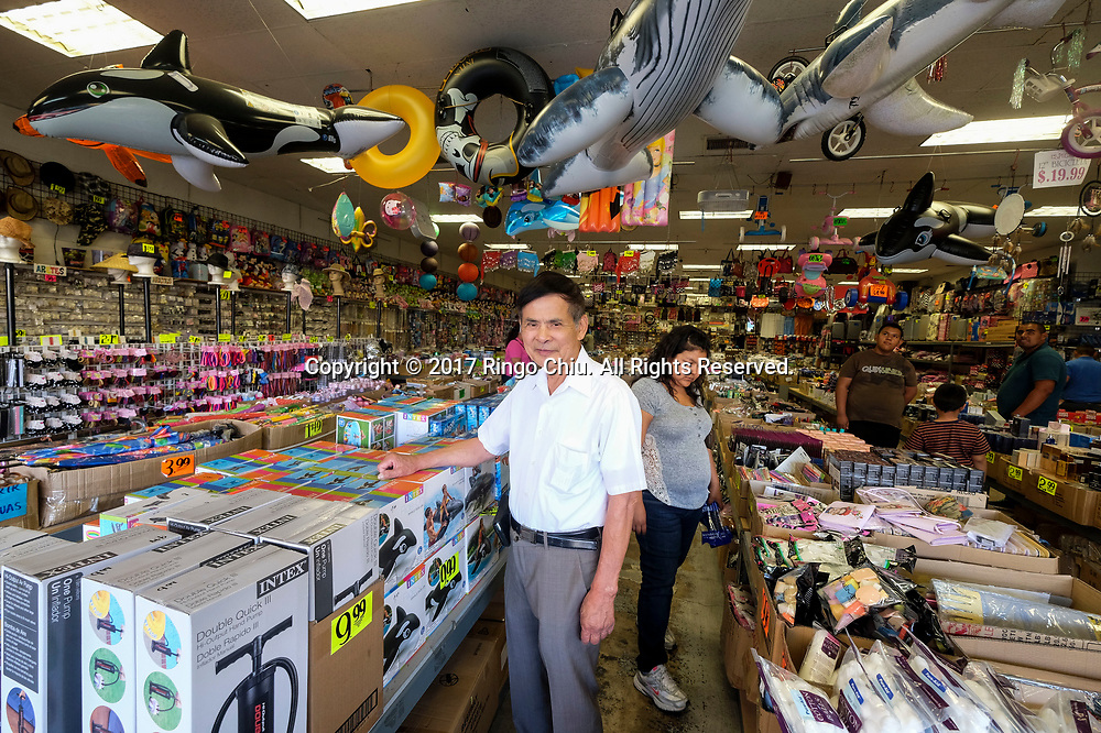 James Lo, CEO of Pacificland International Development Inc., poses at a store front in Calexico (the US and Mexico border), California on Wednesday April 19, 2017. (Xinhua/Zhao Hanrong)