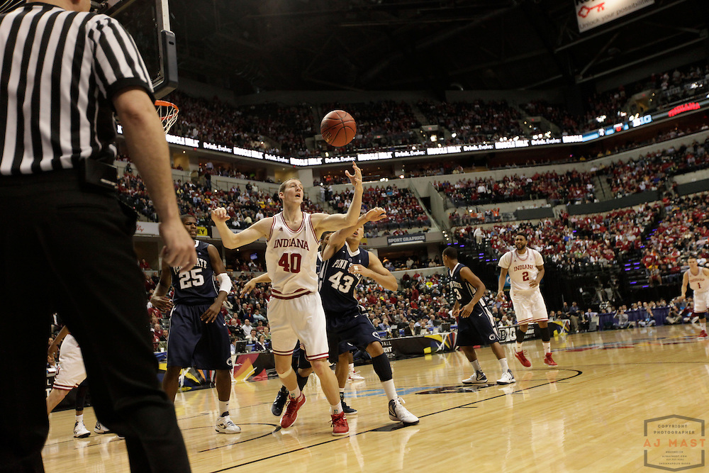 08 March 2012: Indiana Forward Cody Zeller (40)  as the Indiana Hoosiers played the Penn State Nittany Lions in a college basketball game during the Big 10 Men's Basketball Championship in Indianapolis
