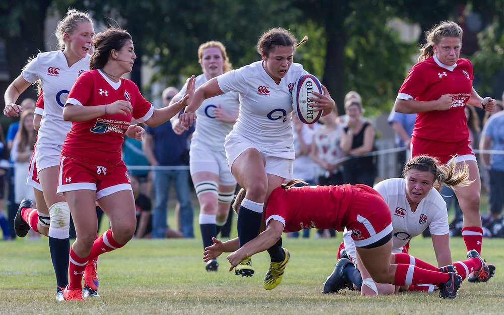 Katie Trevarthen in action, U20 England Women v U20 Canada Women at Trent College, Derby Road, Long Eaton, England, on 18th August 2016