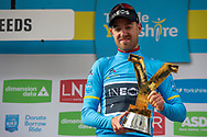 Chris Lawless of Team Ineos with the trophy during stage four of the Tour de Yorkshire from Halifax to Leeds, , United Kingdom on 4 May 2019.