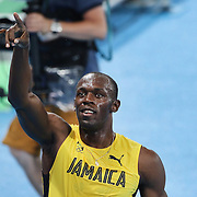 Athletics - Olympics: Day 13  Usain Bolt of Jamaica celebrates after winning the gold medal in the Men's 200m Final at the Olympic Stadium on August 18, 2016 in Rio de Janeiro, Brazil. (Photo by Tim Clayton/Corbis via Getty Images)