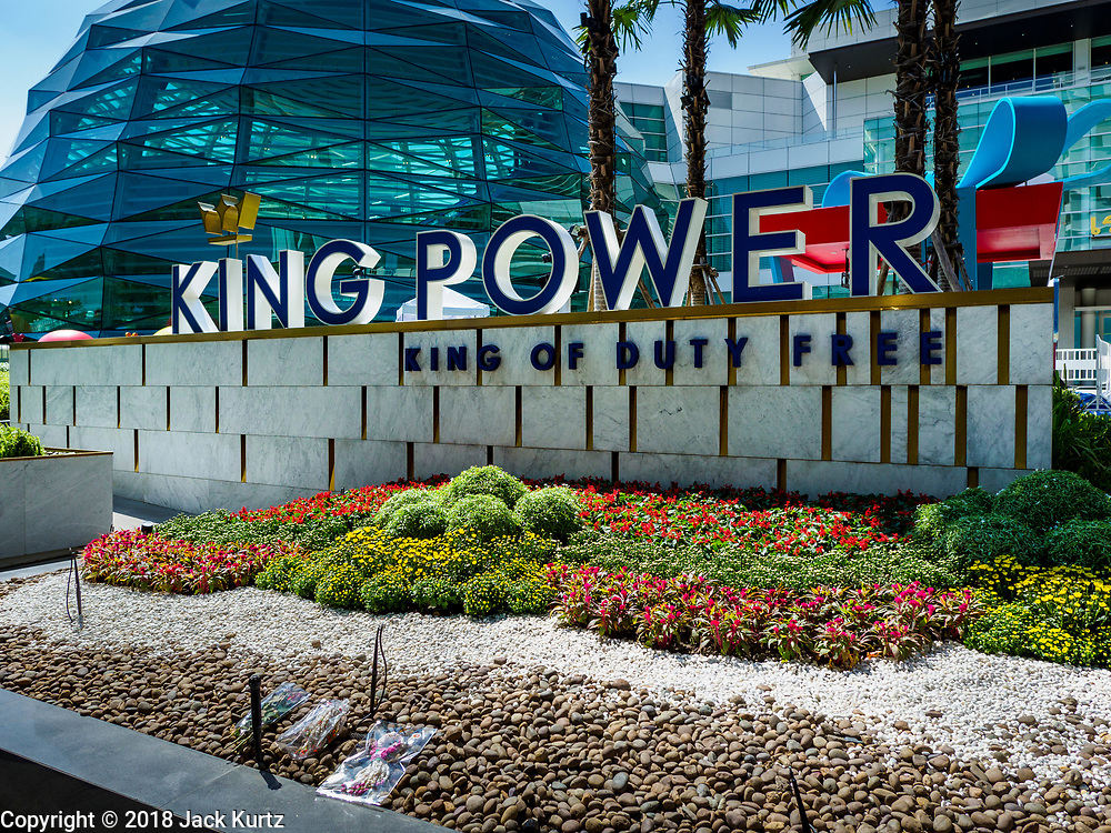30 OCTOBER 2018 - BANGKOK, THAILAND: The front of the King Power shopping complex in Bangkok. Vichai Srivaddhanaprabha, owner of King Power, the Thai duty free airport shops, and Leicester City soccer club, died Saturday, 27 October, in a helicopter crash after a soccer match in the UK.  PHOTO BY JACK KURTZ