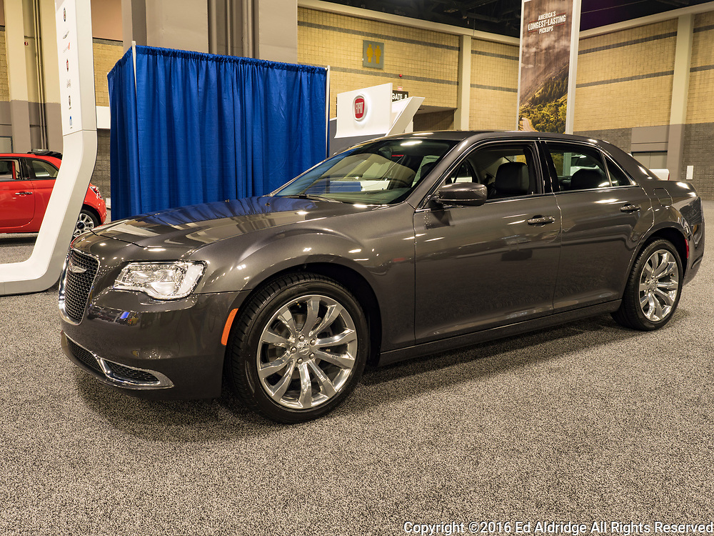 CHARLOTTE, NC, USA - NOVEMBER 17, 2016:  Chrysler 300 on display during the 2016 Charlotte International Auto Show at the Charlotte Convention Center in downtown Charlotte.