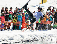 Bob McKenna threw in wings and a prayer but that didn't get him across the pond during Gunstock's annual end of the season BYODC event Sunday afternoon.  (Karen Bobotas/for the Laconia Daily Sun)