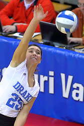 23 November 2017:  Cathryn Cheek during a college women's volleyball match between the Drake Bulldogs and the Indiana State Sycamores in the Missouri Valley Conference Tournament at Redbird Arena in Normal IL (Photo by Alan Look)