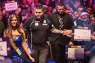 Michael Smith walk on during the World Darts Championship at Alexandra Palace, London, United Kingdom on 27 December 2015. Photo by Shane Healey.