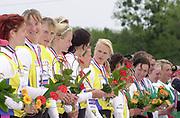 Poznan, POLAND.   2004 FISA World Cup, Malta Lake Course.  <br /> <br /> Women's eight GER W8+<br /> Bow Elke Hipler, Anja Paritz, Dana Pyritz, Britta Holthaus, Susanne Zimmermann, Silke Quenther and Lenka Weck -  cox Annina Ruppel<br /> 09.05.2004<br /> <br /> [Mandatory Credit:Peter SPURRIER/Intersport Images]
