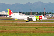 TAP Air Portugal, Airbus A320-200. Photographed at Linate airport, Milan, Italy