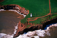Aerial of the northern coastline of Prince Edward Island, Canada