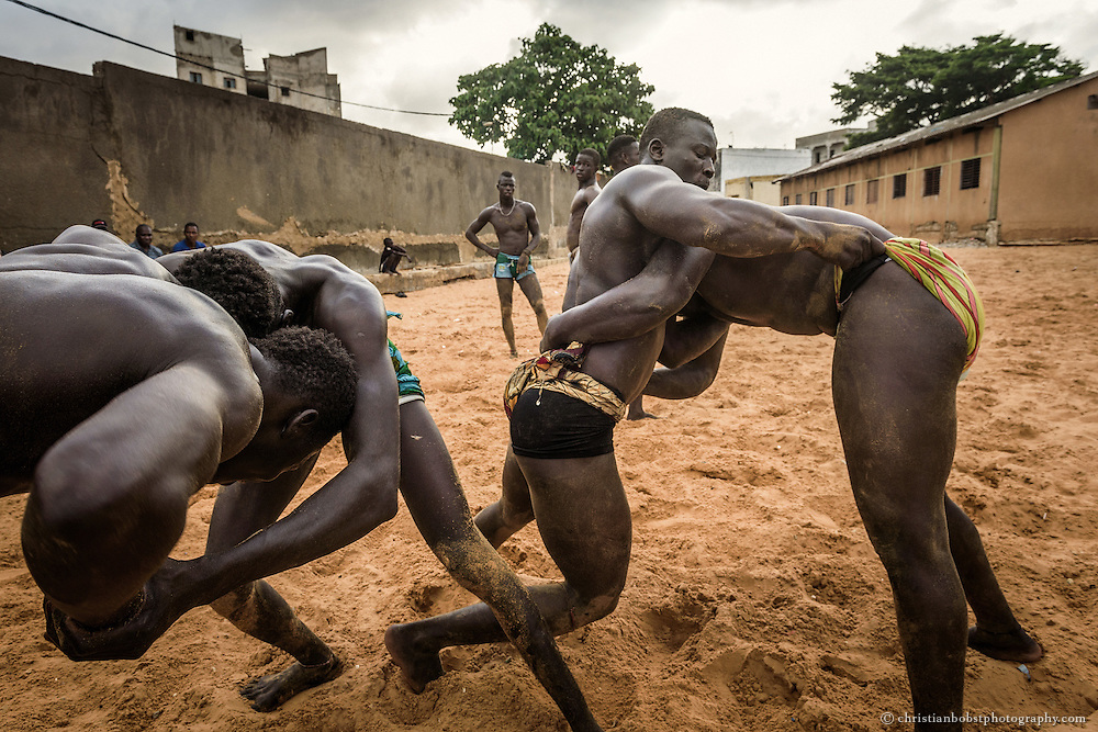 Wrestlers compete in the wrestling school of Ex-Wrestler Balla Gaye on August 10, 2015. The Star-Wrestler Balla Gaye 2 and many other successful  wrestlers have arisen from this famous school, which was the first official  wrestling school in Senegal.