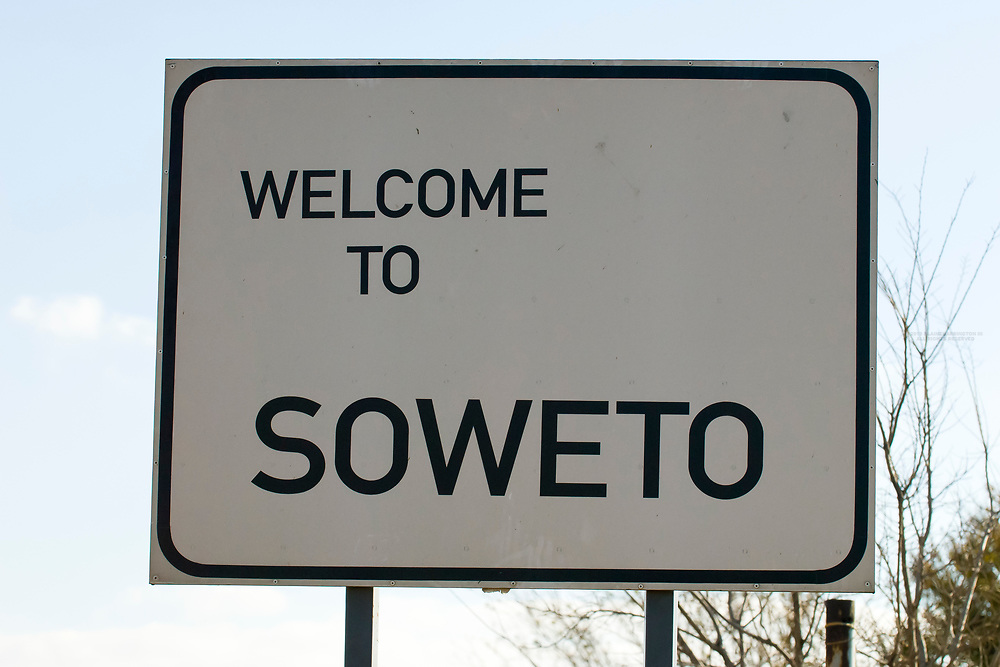 A sign at the entrace to Soweto (formerly 38 townships, the South Western Townships were renamed Soweto in 1963),  Johannesburg, South Africa