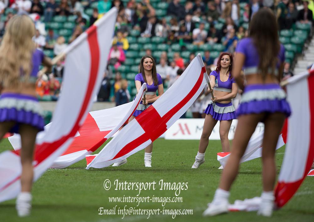 Twickenham, Great Britain, England Flag waved by the dancers.  England vs Fiji 3/4th paly off in the  Cup, final, Marriott London Sevens played at the  RFU Stadium, Twickenham, ENGLAND. Sunday 17.05.2015<br /> [Mandatory Credit; Peter Spurrier/Intersport-images]