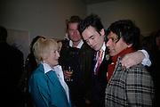 Tory Laurence, Sebastian Horsley and Robin Dutt, Maggi Hambling Paintings on Paper. Marlborough Gallery. London. 14 march 2007.  -DO NOT ARCHIVE-© Copyright Photograph by Dafydd Jones. 248 Clapham Rd. London SW9 0PZ. Tel 0207 820 0771. www.dafjones.com.