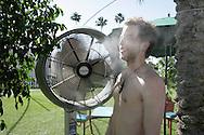 18th April 2009. Indio, California. British singer James Morrison cools down, as temperatures exceeded 100F at the Coachella Music Festival..PHOTO © JOHN CHAPPLE / REBEL IMAGES.tel +1 310 570 9100    john@chapple.biz