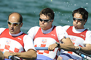 Munich, GERMANY, CRO M4-, Bow, Petar LOVRIC, Igor BORAASKA, Alen BONOCAV and Erik BREC. At the start, during the FISA World Cup at the Munich Olympic Rowing Course, Thur's.  08.05.2008  [Mandatory Credit Peter Spurrier/ Intersport Images] Rowing Course, Olympic Regatta Rowing Course, Munich, GERMANY