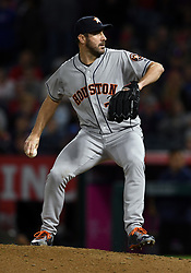 May 16, 2018 - Anaheim, CA, U.S. - ANAHEIM, CA - MAY 16: Houston Astros pitcher Justin Verlander (35) pitching in the ninth inning of a game against the Los Angeles Angels of Anaheim played on May 16, 2018 at Angel Stadium of Anaheim in Anaheim, CA.(Photo by John Cordes/Icon Sportswire) (Credit Image: © John Cordes/Icon SMI via ZUMA Press)