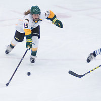 1st year forward Sam Geekie (15) of the Regina Cougars in action during the Women's Hockey home game on October 8 at Co-operators arena. Credit: Arthur Ward/Arthur Images