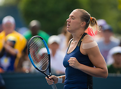 August 11, 2018 - Kaia Kanepi of Estonia in action during qualifications at the 2018 Western & Southern Open WTA Premier 5 tennis tournament. Cincinnati, USA, August 11, 2018 (Credit Image: © AFP7 via ZUMA Wire)