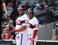 CHICAGO - APRIL 27:  Jose Abreu #79 and Dayan Viciedo #24 (background) of the Chicago White Sox look on against the Tampa Bay Rays on April 27, 2014 at U.S. Cellular Field in Chicago, Illinois.  The White Sox defeated the Rays 9-2.  (Photo by Ron Vesely)   Subject: Jose Abreu; Dayan Viciedo