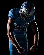 Citadel wide receiver Raleigh Webb poses in a mock uniform with Citadel Athletics' new brand mark at Johnson Hagood Stadium in Charleston, South Carolina on Friday, June 4, 2021.<br /> Credit: Cameron Pollack / The Citadel