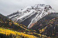 First snow storm of the autumn season over 12,592 ft. Red Mountain #1.  San Juan Mountains, Colorado.