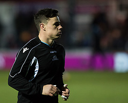 Glasgow Warriors' Adam Hastings during the pre match warm up<br /> <br /> Photographer Simon King/Replay Images<br /> <br /> Guinness PRO14 Round 14 - Dragons v Glasgow Warriors - Friday 9th February 2018 - Rodney Parade - Newport<br /> <br /> World Copyright © Replay Images . All rights reserved. info@replayimages.co.uk - http://replayimages.co.uk