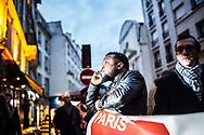 28012015. Paris. Manifestation pour la régularisation des 18 du 57 bd de Strasbourg /près de Matignon. Le maire Rémi Féraud. 28012015. Paris. Demonstration for obtaining papers for the 18 strikers of Chateau d'eau' s Barber shop near Prime minister Building. Rémi Féraud Paris 10th district Mayor (with glasses).