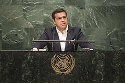 UNITED NATIONS, Sept. 23, 2016 (Xinhua) -- Greek Prime Minister Alexis Tsipras addresses the 71st session of United Nations General Assembly on the third day of the general debate at the UN headquarters in New York, the United States, Sept. 22, 2016. (Xinhua/UN Photo/Cia Pak) (zcc) (Credit Image: © Un /Cia Pak/Xinhua via ZUMA Wire)