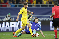 (L-R) Eric Bicfalvi of Romania, Daley Blind of Holland during the friendly match between Romania and The Netherlands on November 14, 2017 at Arena National in Bucharest, Romania