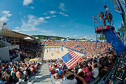 View on the main court at A1 Beach Volleyball Grand Slam tournament of Swatch FIVB World Tour 2011, on August 6, 2011 in Klagenfurt, Austria. (Photo by Matic Klansek Velej / Sportida)