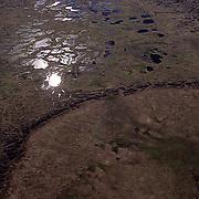 Alaska, Polygone formations on tundra near Barrow, Alaska.