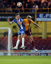 Peterborough United's Jack Baldwin in action with Bradford City's Jon Stead  - Photo mandatory by-line: Joe Dent/JMP - Mobile: 07966 386802 18/04/2014 - SPORT - FOOTBALL - Bradford - Valley Parade - Bradford City v Peterborough United - Sky Bet League One