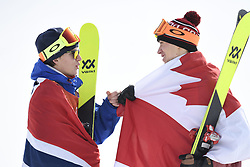 February 18, 2018 - Pyeongchang, South Korea - Gold medalist OYSTEIN BRAATEN of Norway, left, and bronze medalist ALEX BEAULIEU-MARCHAND of Canada congratulate each other following Mens Ski Slopestyle finals Sunday, February 18, 2018 at Phoenix Snow Park at the Pyeongchang Winter Olympic Games.  Photo by Mark Reis, ZUMA Press/The Gazette (Credit Image: © Mark Reis via ZUMA Wire)
