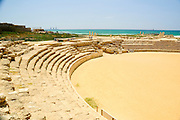 Israel, Caesarea, The arched spectators seats at the Hippodrome built by king Herod first century BC