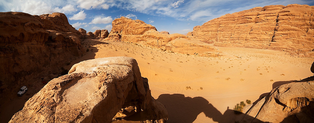 View from the top of Um Frouth Arch, Wadi Rum, Jordan.
