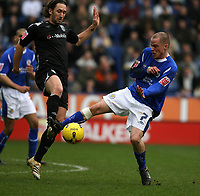 Photo: Pete Lorence.<br />Leicester City v West Bromwich Albion. Coca Cola Championship. 24/02/2007.<br />Iain Hume collects the ball from Richard Greening.