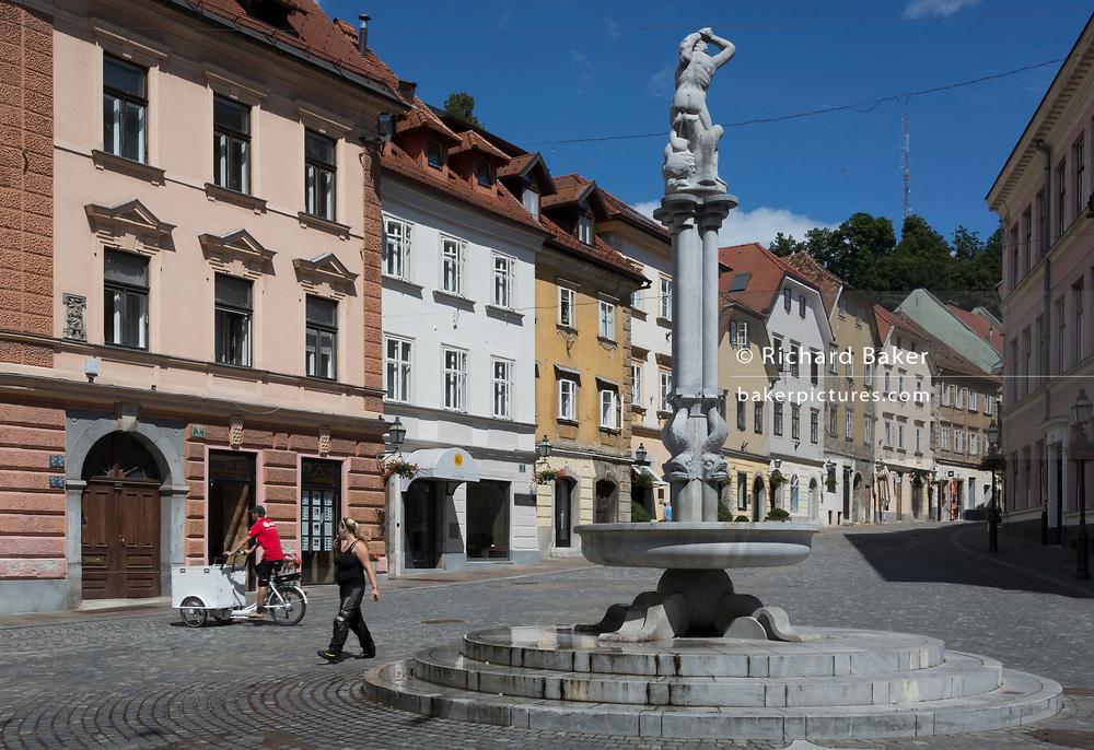 Levstikov trg square in the Slovenian capital, Ljubljana, on 27th June 2018, in Ljubljana, Slovenia. The Levstikov trg square was laid out by the architect Joze Plecnik between 1926 and 1927, at the time when it was still called Šentjakobski trg.