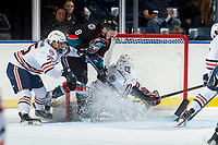 KELOWNA, CANADA - SEPTEMBER 5: Jack Cowell #8 of the Kelowna Rockets tried to put the piuck in the net of Kyle Dumba #45 of the Kamloops Blazers on September 5, 2017 at Prospera Place in Kelowna, British Columbia, Canada.  (Photo by Marissa Baecker/Shoot the Breeze)  *** Local Caption ***
